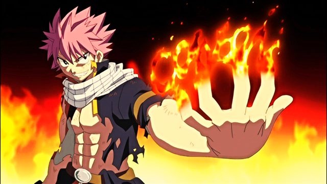 Natsu Dragneel, has many strengths mainly being his Dragon slayer magic, which is said to rival and overtake the power of dragons! Natsu and his dragon slayer ability has an ultimate form called Dragon force, in that state Natsu has dragon scales on his body and if that wasn't cool enough he gets an added strength boost with his dragon slayer magic, but the only way he can achieve it is by eating a golden flame.