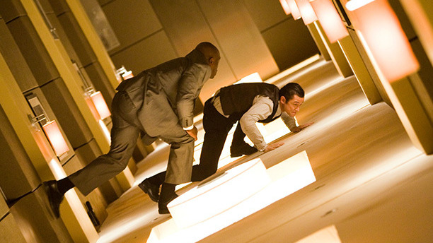 Christopher Nolan is Hollywood's reigning digital skeptic, preferring to shoot practical effects on old-fashioned film. So the hotel-corridor scene in Inception required devilishly complicated sets, rotating the actors on wires and steel trolleys. The result is an old-fashioned