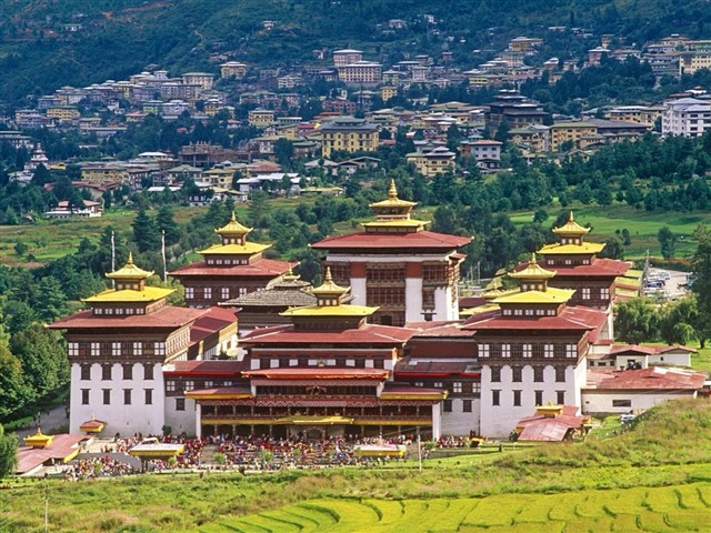 Thimphu, Bhutan's capital, occupies a valley in the country's western interior. In addition to being the government seat, the city is known for its Buddhist sites. The massive Tashichho Dzong is a fortified monastery and government palace with gold-leaf roofs. The Memorial Chorten, a whitewashed structure with a gold spire, is a revered Buddhist shrine dedicated to Bhutan's third king, Jigme Dorji Wangchuck.
