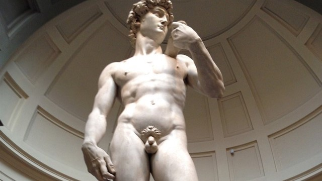This is perhaps the greatest masterpiece of Renaissance sculpture. Michelangelo created it between 1501 and 1504 out of marble, representing the nude body of Biblical hero David. Measuring 5.17 meters (17 ft), it stood in Florence's main square but is now in the city's Accademia Gallery to protect it from damage. A replica has replaced it at the original location.