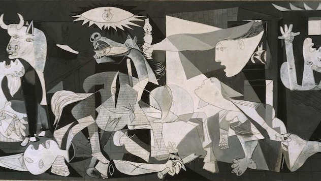 Picasso's most famous work dates from 1937 and presents the tragedy of war in an effort to draw attention to the bombing of Guernica (a Basque town) by the Germans. It's an enormous painting, measuring over 3 meters (11 ft).