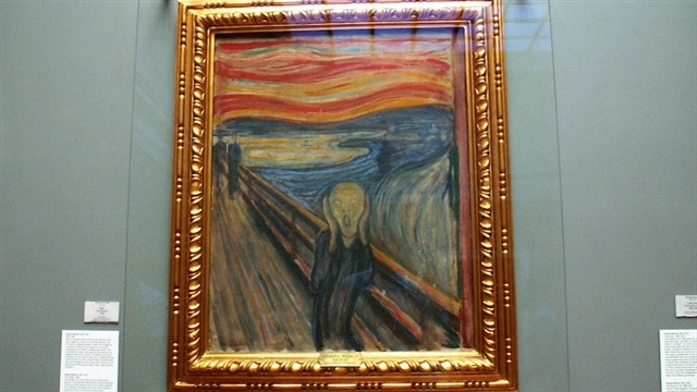 This is part of a series of expressionist paintings by Edvard Munch. The background is a landscape in Norway, and depicts a screaming figure symbolizing the anguishes of modern life. There are four versions, painted between 1893 and 1910. Two of them are now in Oslo's National Gallery, while another is in the same city's Munch Museum. The fourth was sold in 2012 for close to 120 million dollars. The oldest version (from 1893) is in the National Gallery, and was stolen in 1994 but recovered months later. Another version was stolen in 2004 from the Munch Museum, and recovered in 2006.