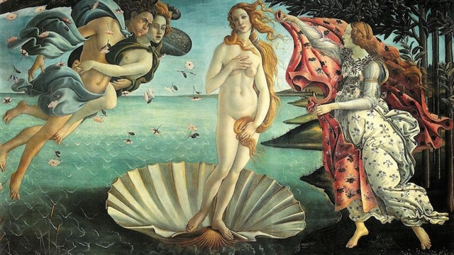 Painted by Botticelli between 1485 and 1487, this is the goddess Venus being born, emerging from the sea. No one really knows where it was first displayed, but it was commissioned by the Medici family in Florence. It's become one of the most reproduced images of all time.