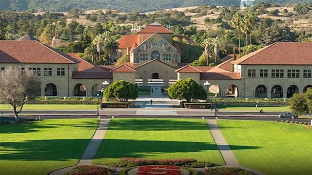 """Located in the heart of Silicon Valley,Stanford Universitywas founded in 1885 by Jane and Leland Stanford, """"to promote the public welfare by exercising an influence in behalf of humanity and civilization."""" Since opening in 1891, Stanford's faculty and students have worked toimprove the health and wellbeingof people around the world throughthediscovery and application of knowledge. Breakthroughs at Stanfordinclude the first successfulheart-lung transplant, the debut of the computer mouse, and the development ofdigital music.Situated on 8,180 acres, Stanford is one of the largest campuses in the United States with 18 interdisciplinary research institutes and seven schools on a single campus: Graduate School of Business; School of Earth, Energy & Environmental Sciences; Graduate School of Education; School of Engineering; School of Humanities and Sciences; Law School; and School of Medicine."""