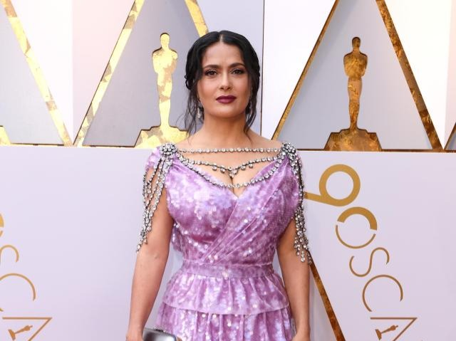 Salma's custom embellished Gucci dress was the definition of a fashion disaster. The matronly shade, unfathomable neckpiece, confusing silhouette, layered ruffles and overload of sequins was all wrong. Surely a beauty like Salma doesn't need all this bling?The Beatriz at Dinner actor rounded off her look with an old-fashioned metallic clutch and dark lip (which, by the way, is a completely different shade of purple) and was a big no no. The only thing the star got remotely right was the hair and minimal jewellery but alas, it could not serve as her saving grace. There was just way too much going on here and she really needs to remember that sometimes, less is more.