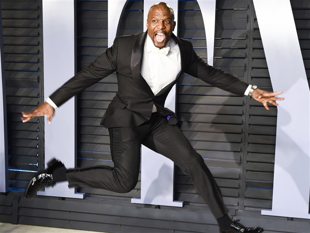Terry Crews was so excited, he jumped in the air.