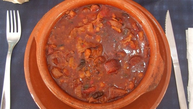 You might see this hearty meaty concoction on menus around the Spanish capital. It smells great and can look delicious but be warned – the main ingredient is callos, or tripe.