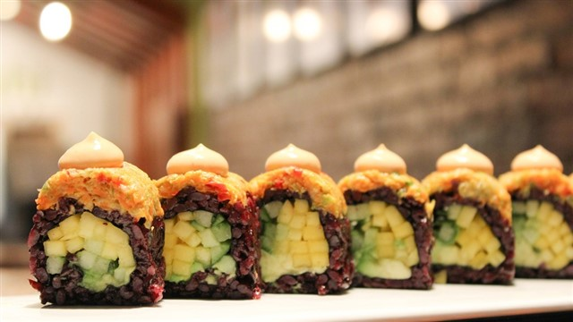 "Up your #MeatlessMonday game with the ""great to look at, better to eat"" fare from Beyond Sushi, which has several locations in the area. Fish isn't missed at this popular local chain, where vegan and vegetarian sushi rolls feature exciting ingredients such as black bean purée, mango, almond pesto, and more."