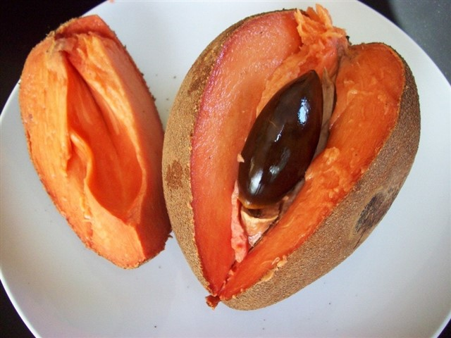 Also known as zapote, mamey sapote is a creamy, soft berry with a flavour that has been described as a mixture of sweet potato, honey, peach, apricot, cherry, and almond! It's highly nutritious, with a high quantity of vitamins C and B6, as well as being a great source of source of riboflavin, niacin, manganese, potassium and fibre.
