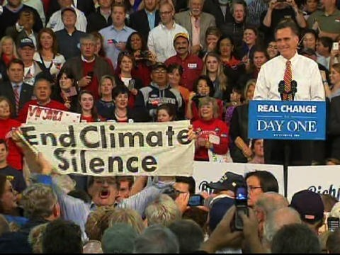 """Mitt Romney has a difficult relationship with the thorny issue of climate change, with attacks on his flippant remarks about rising sea levels. But the starkest flip-flop he has made involves the effect of human activity on climate change. The change of heart is starkly illustrated by two quotes from Romney, made just a year apart. The first featured in his 2010 book """"No apology"""", where he says """"I believe that climate change is occurring…I also believe that human activity is a contributing factor"""". A year later, speaking at the Consol Energy Center in Pittsburgh, Pennsylvania, he said """"My view is that we don't know what's causing climate change on this planet"""". So, what's it to be Mitt? Or does it depend on which side is more powerful at the time?"""