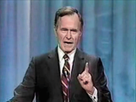 """And in the number one slot we have one of the most famous political quotes of all time – """"Read my lips, No new taxes"""". the speaker was then-President George Bush Snr, the year was 1988 and the promises were ambitious, if popular. You can probably guess what happened next – yes, new taxes. The 1992 election was, by this time, looming and Bush's opponent Bill Clinton made great use of the quote in his case, hammering home the message that Bush was a liar. Clinton won, and Bush Snr went into the great book of political quotes, later to be joined by his """"misspoken"""" son George W. Bush."""