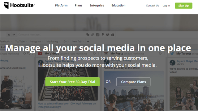 If you're a social media manager wondering how to corral the firehose of information that's coming at you constantly through social media channels, this is the tool for you. See all your social media accounts here in one area and Hootsuite offers a fine selection of monitoring, publishing and collaboration reports that are so useful you'll wonder how you ever got along without them.