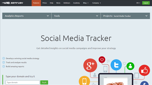 Sometimes looking through the social media marketing sites means crossing over and dealing with the kind of tools that might be best described as SEO-related. However, when you need to know the top tag lines and catch phrases in your industry, this is an excellent device for several very good reasons. You can identify the phrases a site ranks with SEMrush and then use the best of the ones you find for your own business. This is a real gem for the digital marketing executive that needs to multitask or doesn't have a good copywriting department.