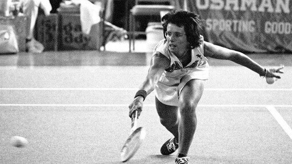 """With her tireless crusade for women's equality in sports, Billie Jean King greatly leveled the playing field. She launched many organizations for women athletes including a sports magazine, a sports foundation and a professional women's tour. Her numerous accomplishments include six Wimbledon singles championship wins. However, the turning point in her life and women's sports was when she accepted a challenge to play against one-time Wimbledon champion Bobby Riggs. In 1973 at the Houston Astrodome, the 29-year-old King defeated 55-year-old Riggs in straight sets in what became known as the """"Battle of the Sexes."""""""