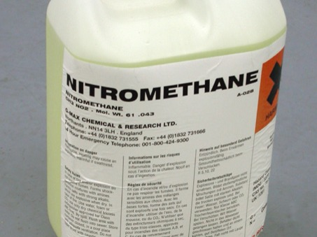 Nitromethane carries its own oxygen, making it a potential monopropellant that can combust without any air. That's why the substance was once used as rocket fuel. Nitromethane also has industrial uses as a cleaning solvent and can help in synthesizing pesticides, pharmaceuticals, and coatings.In the case of a chemical spill, a harmful level of contamination in the air can be quickly reached upon evaporation of nitromethane. Only explosion-proof equipment should be used for collecting and containing the spill.