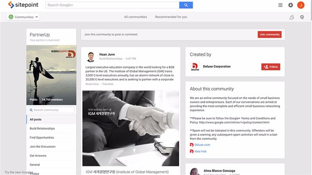 PartnerUp is a Google+ community connecting small business owners and entrepreneurs.