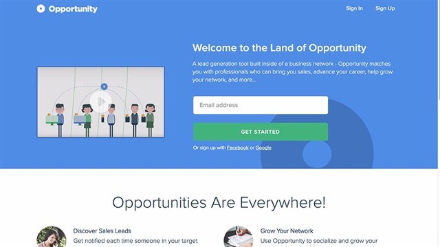 Opportunity is a business network built around a lead generation tool that connects you to other professionals who could bring you leads, sales, and clients.