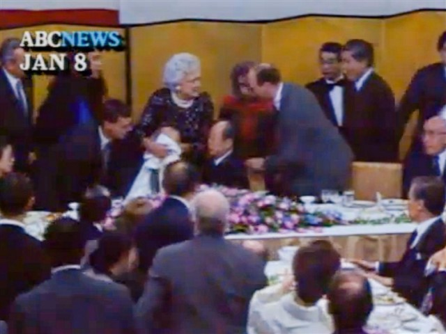 On January 8, 1992, President George H.W. Bush turned himself into the butt of the joke after he vomited on the lap of Japanese prime minister Kiichi Miyazawa during a state dinner in Tokyo. President Bush wasn't feeling too well and had even vomited before the dinner. His personal physician, Dr. Burton Lee, advised him to forgo the dinner and go to bed, but he refused.