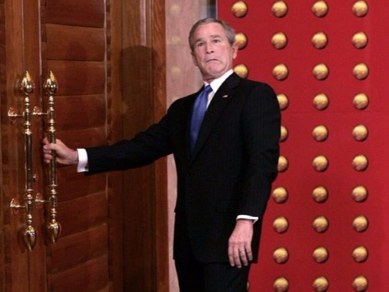 "In 2005, President George W. Bush embarrassed himself when he was unable to open a door during a state visit to China. He was having a news session with reporters when one asked him whether he had a problem, since he looked uninterested and uneasy and seemed to be in a hurry during an earlier meeting with Chinese president Hu Jintao. Instead of answering the question, President Bush asked the reporter if he had ever heard of jet lag before adding, ""Well, good. That answers your question."""