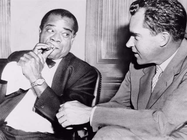 "In 1958, Richard Nixon was the vice president when he unknowingly smuggled drugs past customs at New York's Idlewild Airport (now John F. Kennedy International Airport). Nixon was at the airport when he met jazz musician and US State Department ambassador Louis Armstrong, who was standing in the line awaiting customs. Armstrong had just returned from an international tour, and inside his suitcase were 1.4 kilograms (3 lb) of marijuana.Nixon walked up to Armstrong and asked him what he was doing in the line. Armstrong said he had just returned from an international tour and was waiting to be checked in by customs. Nixon carried his suitcase and told him, ""Ambassadors don't have to go through customs, and the Vice President of the United States will gladly carry your bags for you,"" before both men walked past customs. When Nixon learned the truth several years later, he exclaimed, ""Louie smokes marijuana?"""