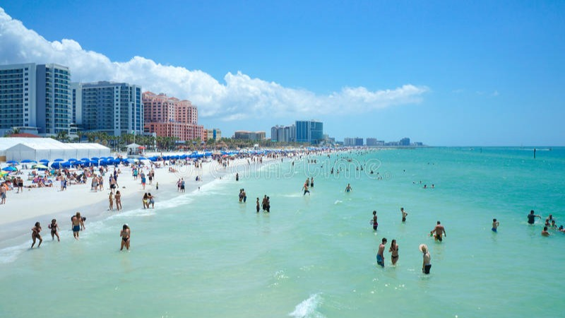 Clearwater Beach includes a resort area and a residential area on the Gulf of Mexico in Pinellas County on the west central coast of Florida. Located just west over the Intracoastal Waterway by way of the Clearwater Memorial Causeway from the city of Clearwater, Florida, of which it is part, Clearwater Beach is at a geographic latitude of 27.57 N and longitude 82.48 W.https://en.wikipedia.org/wiki/Clearwater_Beach