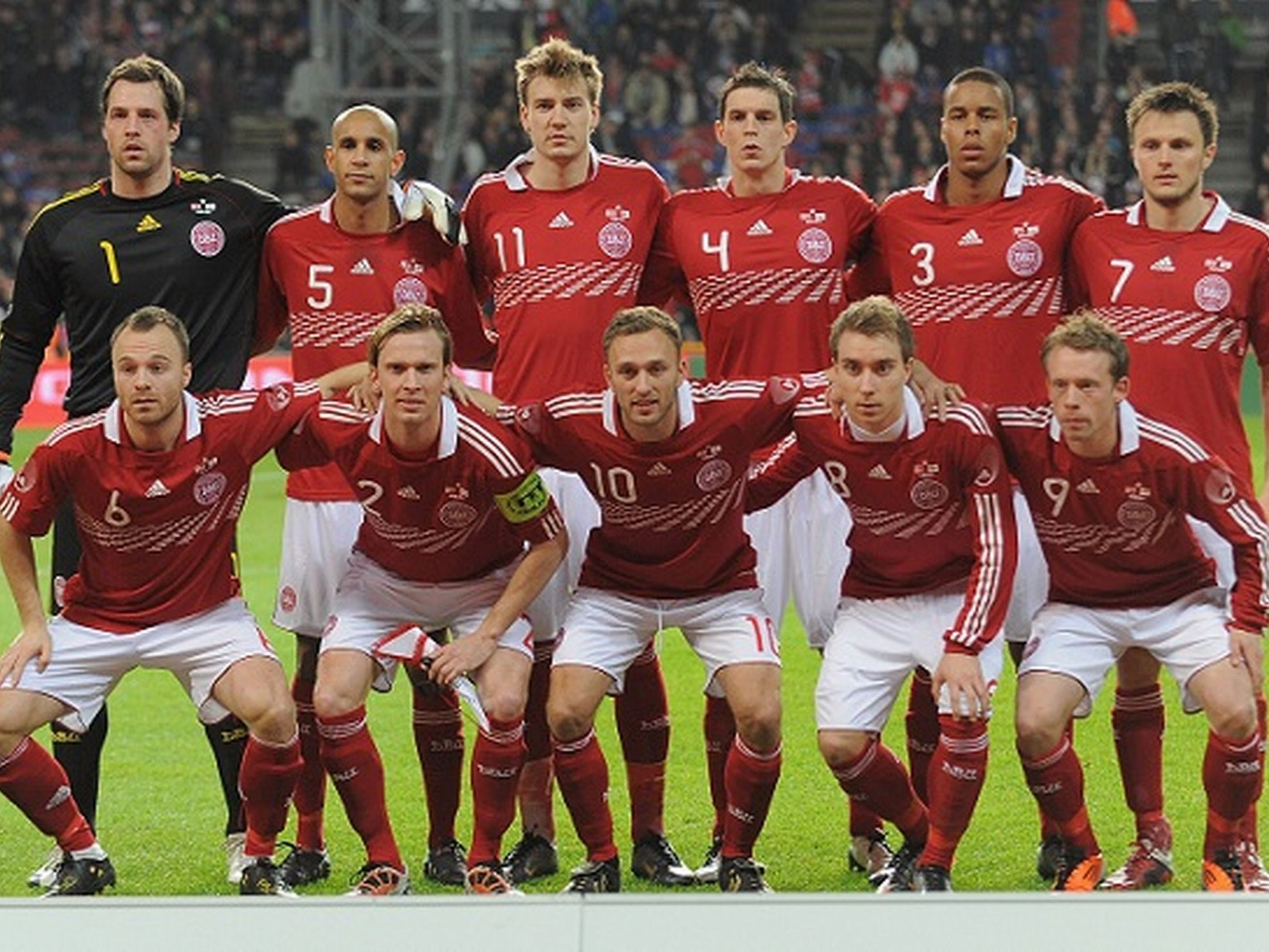 The Denmark national football team (Danish: Danmarks fodboldlandshold) represents Denmark in association football and is controlled by the Danish Football Association (DBU), the governing body for the football clubs which are organized under DBU. Denmark's home ground is Parken Stadium in the Østerbro district of Copenhagen, and their head coach is Åge Hareide.