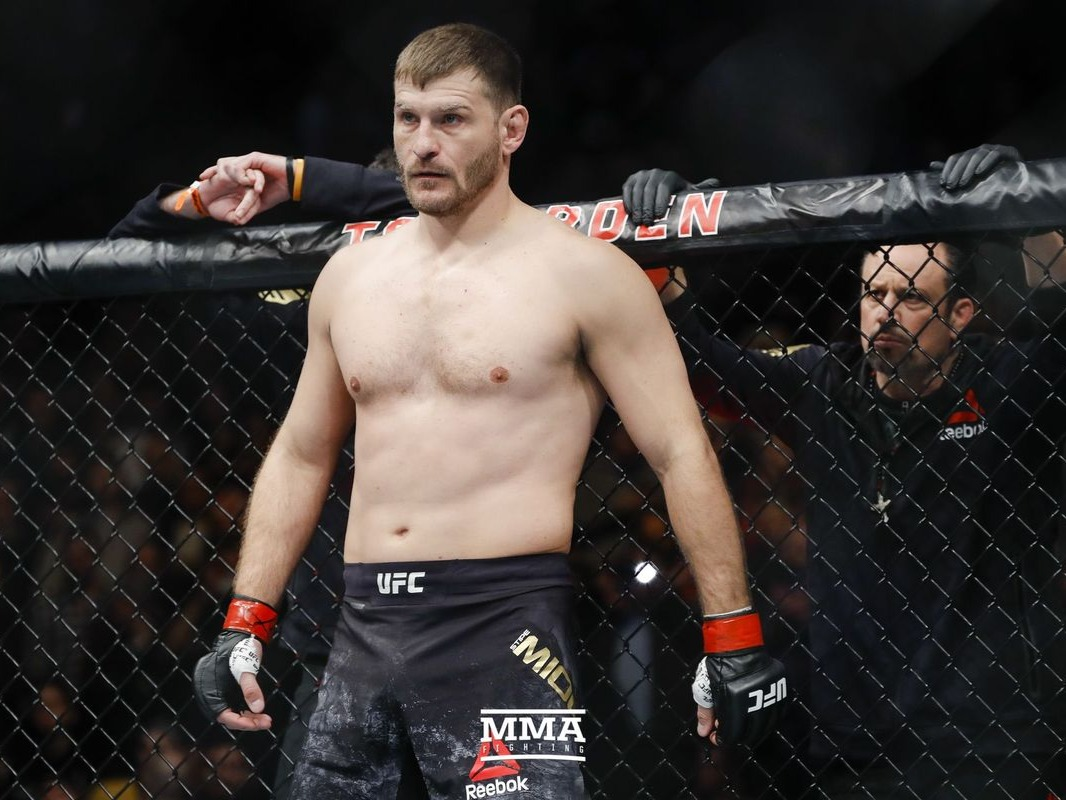 Stipe Miocic (/ˈstiːpeɪ miˈoÊŠtʃɪtʃ/;[4] born 19 August 1982) is an American professional mixed martial artist of Croatian descent.[5][6] He is currently signed to Ultimate Fighting Championship (UFC), where he competes in the heavyweight division and is a former champion. During his reign, he defended his championship three times, holding the record for most consecutive title defenses in the history of the UFC heavyweight division.[7][8] He is considered by many to be the best heavyweight mixed martial artist in UFC history.[9][10][11][12] As of July 26, 2018, he is #1 in the official UFC heavyweight rankings and he is #8 in official UFC pound-for-pound rankings.Source: https://en.wikipedia.org/wiki/Stipe_Miocic