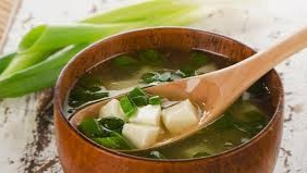 Miso soup (味噌汁 misoshiru) is a traditional Japanese soup consisting of a stock called
