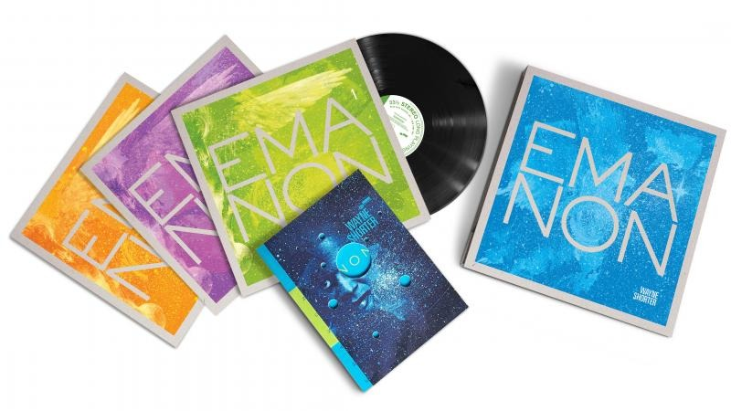 Emanon is a three-disc album by American jazz musician Wayne Shorter. The album was released on September 14, 2018 via Blue Note label, containing both studio and live recordings.[12][13] Emanon is a physical-only release available in two versions—a Standard Edition that includes three CDs with the graphic novel, and a Deluxe Edition that packages three vinyl LPs and three CDs with the graphic novel enclosed in a hardcover slipcase.Wikipedia